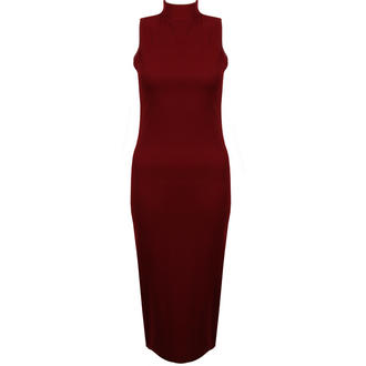 View Item Wine Sleeveless Bodycon Midi Dress